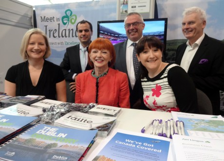 Helen Cole, Tourism Ireland; Seán Carney, Lough Eske Castle; Mary Heron, Aer Lingus; John Healy, Moloney & Kelly Travel; Lynda Reilly, Guinness Storehouse; and Gerry Browne, Killarney Hotels, at IncentiveWorks 2014 in Toronto.