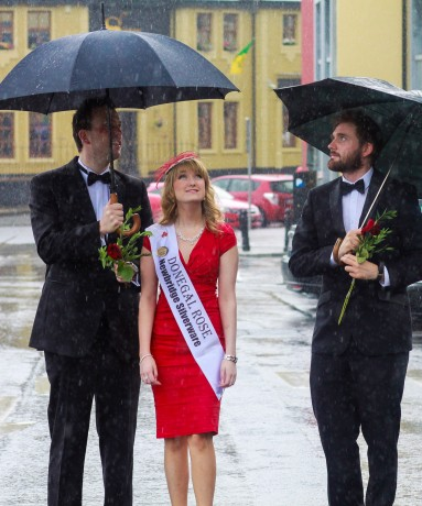 Tamara Payne (Ardara) The Donegal Rose for the forthcoming Rose of Tralee pictured with Patrick Bonner  and Martin Mulrennan (Letterkenny) who will be escorts at the 2014 event pictured in letterkenny as they thank their local sponsors before they prepare for their trip  down to Kerry. Photo: Cristeph/Brian McDaid