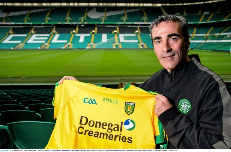 Jim McGuinness holds up a Donegal jersey at Celtic Park last week.