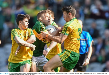 Killian Spillane, Kerry, in action against Colm Kelly, left, and Ciarán Gillespie, Donegal.