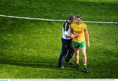 A dejected Christy Toye, Donegal, and Jim McGuinness, after the game