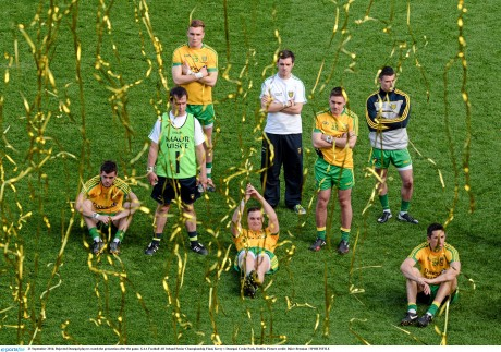 Donegal players watch the presentation of the Sam Maguire Cup to Kerry on Sunday.