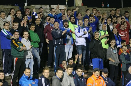 A section of the Finn Park faithful in high spirits as they watched Finn Harps defeat Avondale United in the FAI Cup quarter-final replay at Finn Park on Wednesday night. Photo: Gary Foy