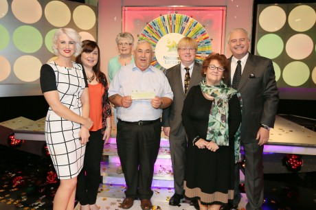 From left to right: Sinead Kennedy, game show co-host; Tom Bonner the winning player; Eddie Banville, Head of Marketing at the National Lottery and Marty Whelan, game show co-host. Pic: Mac Innes Photography