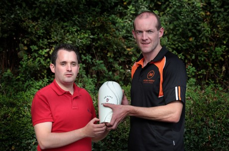 UGAAWA Committee Member Chris McNulty (left) presents Neil Gallagher with the Monthly Merit Award. Photo: Declan Doherty.