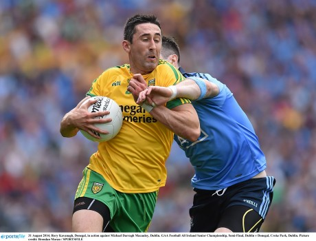 Rory Kavanagh in action against Dublin's Michael Darragh Macauley in the semi-final