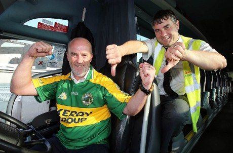 Kerryman Geoff Cotter who drives the Bus Eireann Letterkenny to Dublin coach is hoping for a Kerry win in the All Ireland football final. Colleague Francie McDevitt has other ideas. Photo by Declan Doherty.