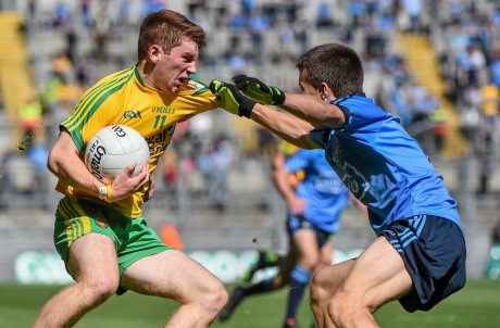 Lorcan Connor, Donegal minors, in action against Eoin Murchan, Dublin.