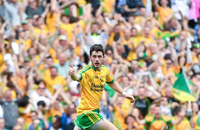 Ryan McHugh celebrates after scoring Donegal's first goal.