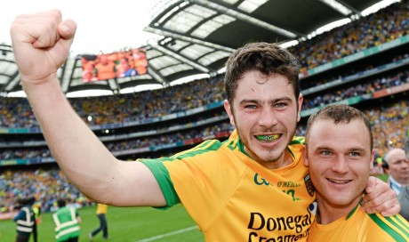 Ryan McHugh, left, and Neil McGee, Donegal, celebrate the win.