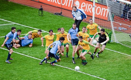 A goalmouth scramble near the end of the game is cleared by Donegal.