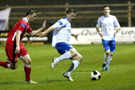 Kevin Mc Hugh in possession for Finn Harps during their match against Shelbourne F.C. Photo: Gary Foy