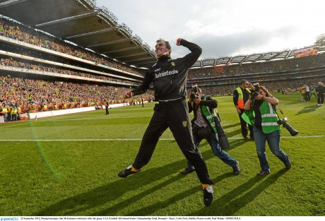 Jim McGuinness celebrates after Donegal won the All-Ireland in 2012.