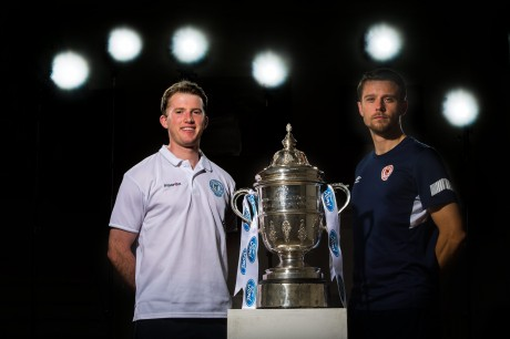 Finn Harps' Pat McCann and St Patrick's Athletic's Ger O'Brien at the FAI Cup semi-final press call