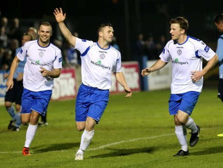 Kevin McHugh celebrates scoring against Avondale United in the quarter-final replay.