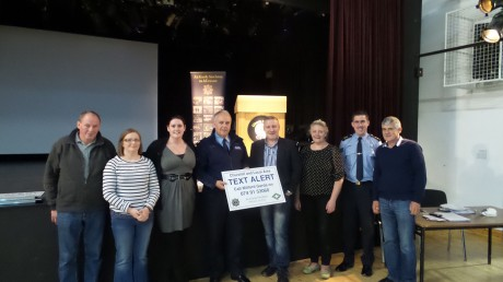 Sergeant Paul Wallace, Crime Prevention Officer, picture with Committee Chairman Charlie McClafferty (4th from right), Vanessa Clarke, Muintír na Tíre (3rd from right), Garda Paula McGee and other committee members at the launch.
