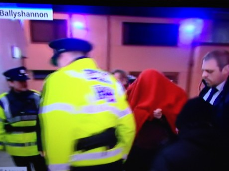 Gardai bring Julian Cuddihy into court in Ballyshannon. Picture: RTE