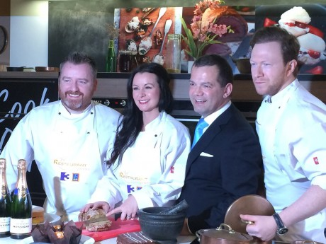 Gary O'Hanlon, John Healy, Louise Lennox and Stephen McAllister at the launch of TV3's new series of The Restaurant in Dublin City Centre last Wednesday.