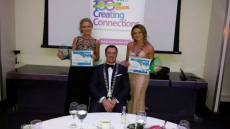 Nikki with JCI National President, Derek Reilly,  and fellow award winner, JCI Donegal President, Emma Boylan.