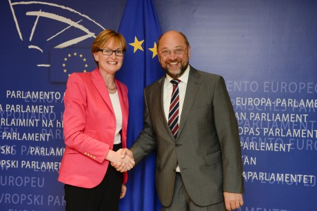 The President of the European Parliament, Martin Schulz congratulates Mairead McGuinness.
