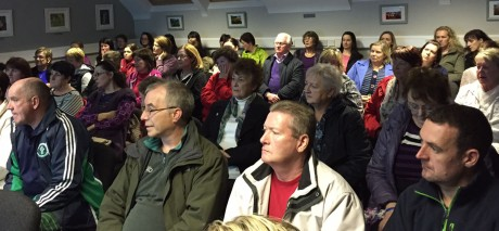 A section of the attendance at a meeting in Dore on Wednesday night where the Mná tí from the Donegal Gaeltacht areas who keep Irish language students held a meeting to discuss the impending water charges. Photo: Eoin Mc Garvey