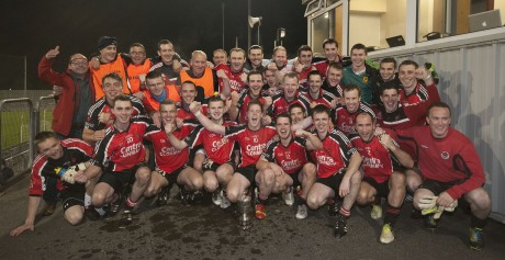 Urris celebrate their junior final success after defeating Naomh Ultan. Photo: Evan Logan