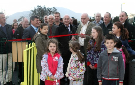 Mayor of Donegal John Campbell cuts the ribbon to officially open the new Glenfin Play Area.