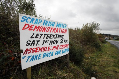 A poster advertising the Irish Water demonsration in Letterkenny on Saturday.