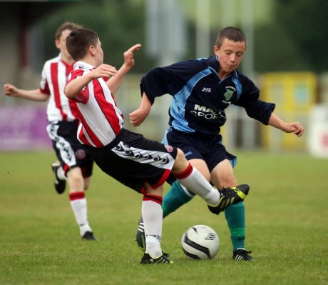 Aaron McColgan in action for Inishowen against Sheffield United in the Foyle Cup final.