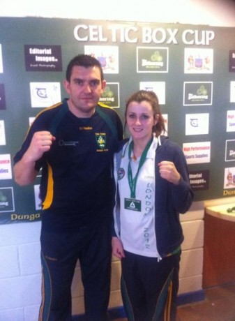 Donna Barr fights in the Intermediate final on Saturday. She is pictured here with Shane McHugh, Twin Towns club coach