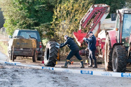 Members of the Garda Crime Scene Investigation at the scene of the tragedy in Killygordon on Saturday morning.