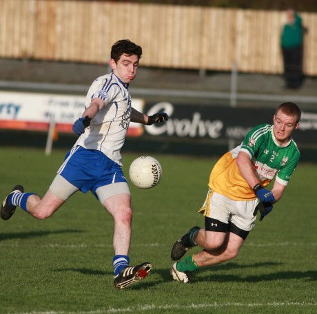 Cloughaneely forward John Fitzgerald in action against Buncrana