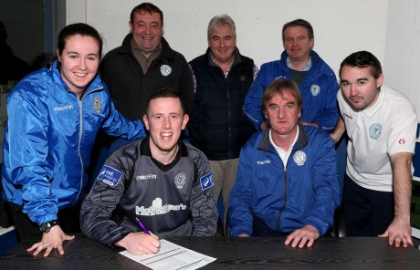 Pictured signing on his return to Finn Park is  goalkeeper Ciaran Gallagher. Included are Chantelle Grant, Ollie Horgan, Shane Elliott, John Campbell, James Rodgers and Aidan Campbell. Photos: Gary Foy