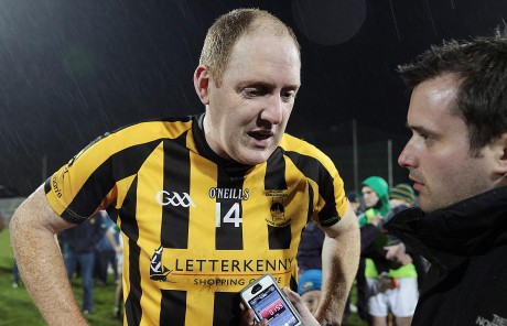Man of the Match John Haran speaks to Chris McNulty after Sunday's game.