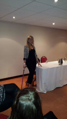Nikki gives her election speech to JCI Donegal members.