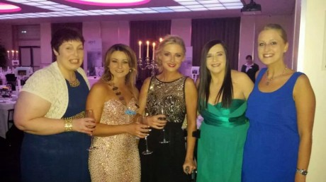 Nikki with outgoing president Emma Boylan (second from left) and fellow JCI Donegal members.