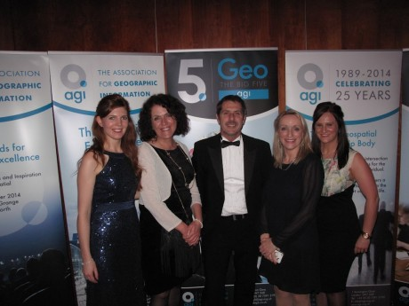 Ms Anne Campbell AGI Northern Ireland Committee, Ms Loretta Mc Nicholas, SPACEial NW Project Manager, Professor Iain Stewart, Geologist & BBC Braodcaster, Mrs Rosita Mahony, SPACEial NW GIS and Research Co-ordinator, Thérèse Devine AGI Northern Ireland Committee at the UK Association of Geographic Information (AGI) Awards for Geospatial Excellence 2014 in Kenilworth, Warwickshire.