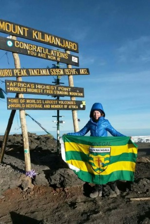 Lorraine Boyce on top of Kilimanjaro.