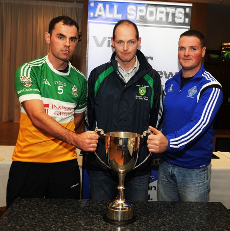 Buncrana captain Odhrán Doherty, referee Andrew Mullin and Cloughaneely captain Sean Maguire, at the press night for the Intermediate final.