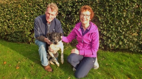 Enda and Marie McMonagle, Falcarragh, with their beloved sheep dog Pete who was missing for 12 days in the Killult area. Photo: Tommy Curran