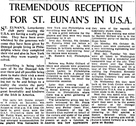 How the Donegal News reported on St Eunan's American trip