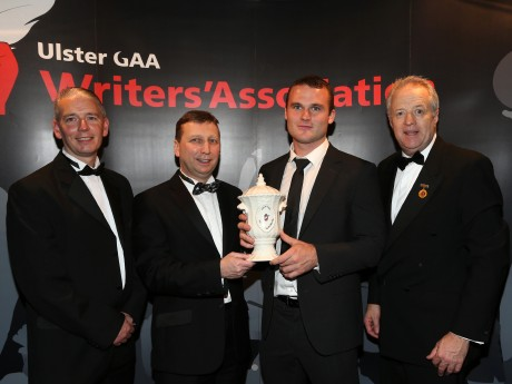 Ulster GAA Writers' Association Footballer of the Year Neil McGee receives his award from Managing Director of Belleek Pottery John Maguire while looking on are Ulster GAA Writers' Association chairman John Martin (left) and Ulster GAA president Martin McAvinney.  Photo: John McIlwaine