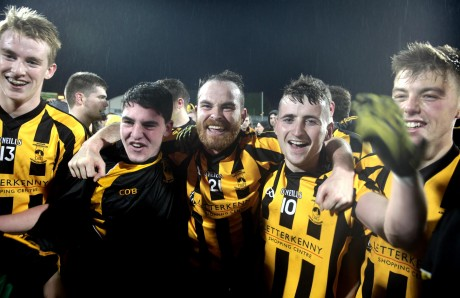 St Eunan's players celebrate their win over Glenswilly.