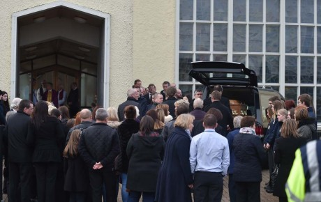 The remains of Seamus Hegarty arrive at St Patricks church Murlog for the Requiem Mass.