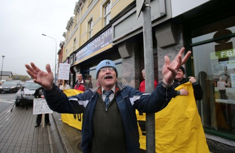 Fergus Cleary at the water charges protest on Friday in Letterkenny