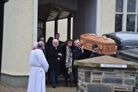 The remains of Kevin Woods leave St Patrick's Chapel Murlog after requiem mass to be interred in Convoy.
