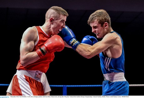 Noel McBride, Corrib, left, exchanges punches with Sean Hunt, Palmerstown, during their 67kg bout.