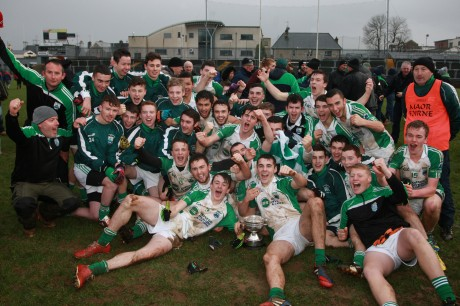 Gaoth Dobhair celebrate their win in the Minor Final on Saturday with their win over Dungloe/Na Rossa. Photo: Brian McDaid