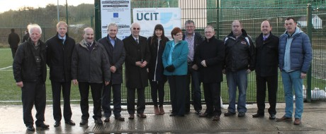 Board members and staff of DLDC with members of Milford Hall Committee at the official opening of the new Astro Facility in Milford. Also included is Paddy Harte, USIT and Contractor Mc Hugh Bros.