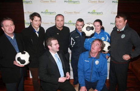 Finn Harps manager Ollie Horgan pictured with Brendan Maxwell from Mc Gettigan's Bar, Letterkenny, as they sign up as team sponsors for the coming season, Included from left, Aidan Campbell, Ciaran Mc Laughlin, Michael Mc Brearty, Mc Gettigans (Group Area Manager), Shane Elliott Chantelle Grant and John Campbell. Photo: Brian McDaid.